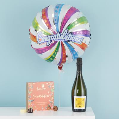 Congratulations Balloon, Chocolate & Prosecco Gift Set