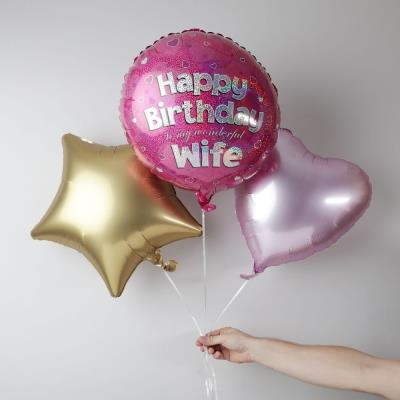 Happy Birthday Wife Balloon Trio