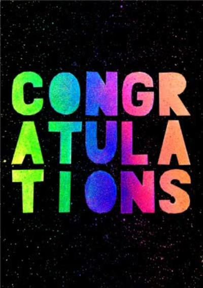 Rainbow Typographic Congratulations Card