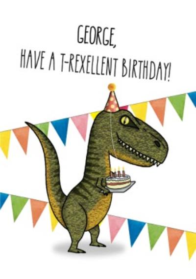 Illustration of T Rex Dinosaur Holding A Birthday Cake. Have T Rexellent Birthday Card