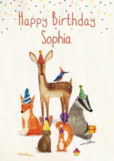 Illustration Woodland Animals Wearing Party Hats Birthday Card