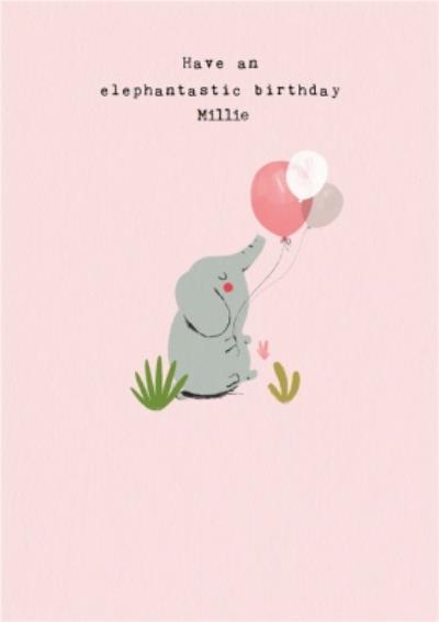 Cute Illustration of a Baby Elephant Have An Elephantastic Birthday Card