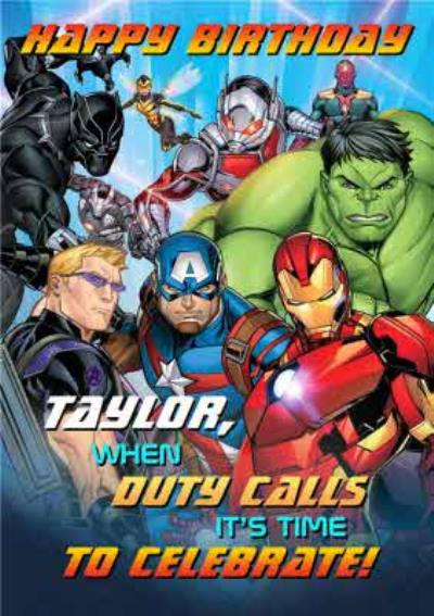 Marvel Avengers Birthday card - The Avengers