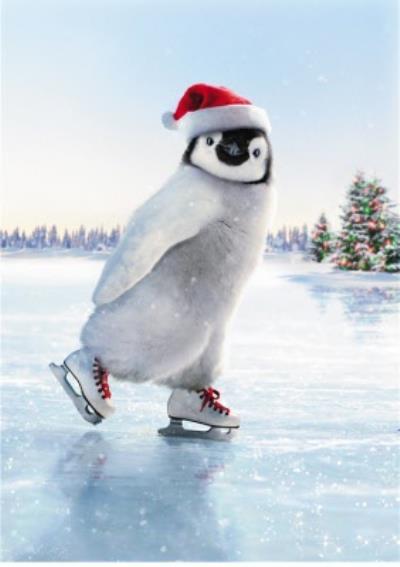 Warner Bros Happy Feet Skating Christmas Card