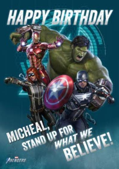 Avengers Gamerverse Stand Up For What We Believe Birthday Card