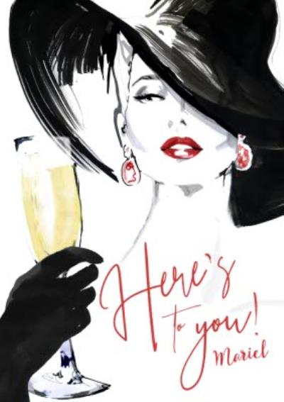 Here's to you - Classy Birthday Card - Champagne