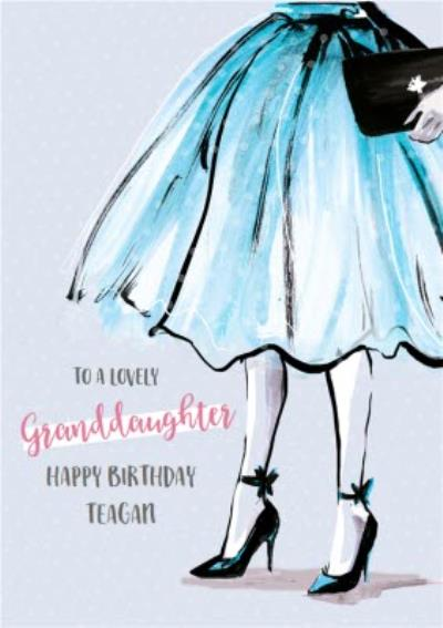 Classy Arty Fashion illustration Happy Birthday card to a lovely Granddaughter