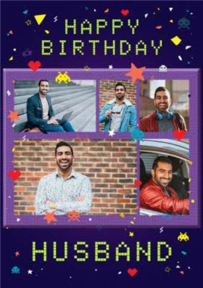 Axel Bright Graphic Space Invaders Gaming Happy Birthday Husband Multi Photo Upload Card