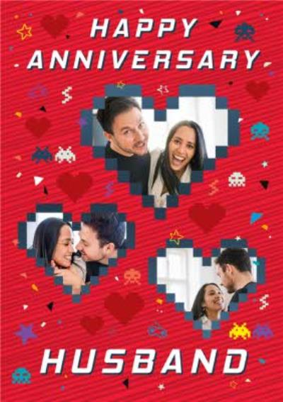 Axel Bright Graphic Space Invaders Gaming Happy Anniversary Husband Multi Photo Upload Card