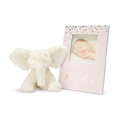 Baby Girl Frame and Elephant Toy Gift Set