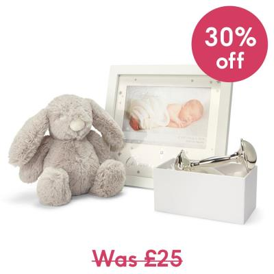 Christening Bundle - Silver plated rattle ,frame and soft toy