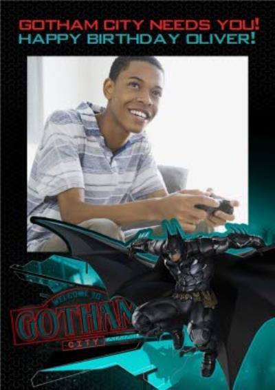 DC Batman Arkham Knight Gotham City Needs You Photo Upload Birthday Card