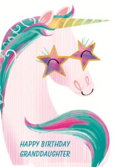 Unicorn With Sunglasses Birthday Card - Granddaughter