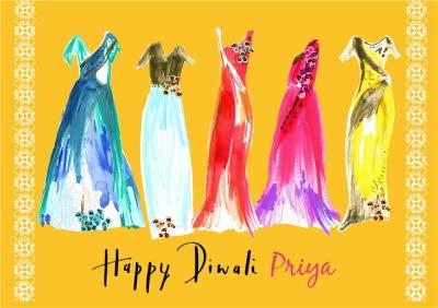 Bright Watercolour Dresses Personalised Happy Diwali Card