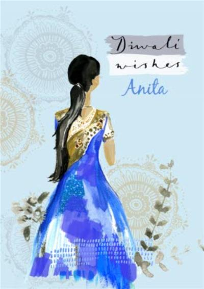 Blue Dress And Patterns Personalised Happy Diwali Card