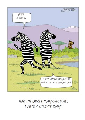 Run Its A Tiger Zebra Cartoon Card