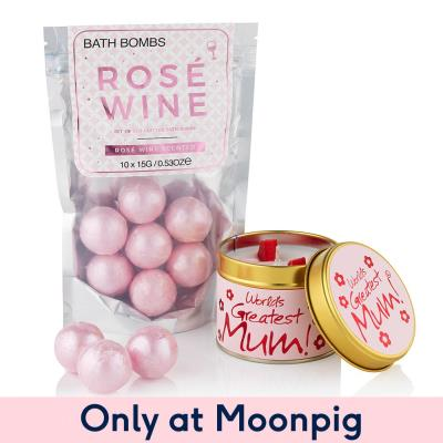 Rosé Wine Bath Bombs World's Greatest Mum Candle Gift Set