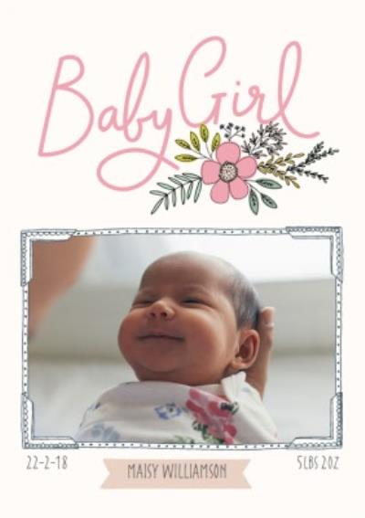 Bees Knees Baby Girl Pink Photo Upload Card