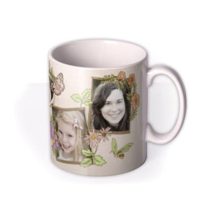 Butterflies, Bees, and Flowers Photo Upload Mug