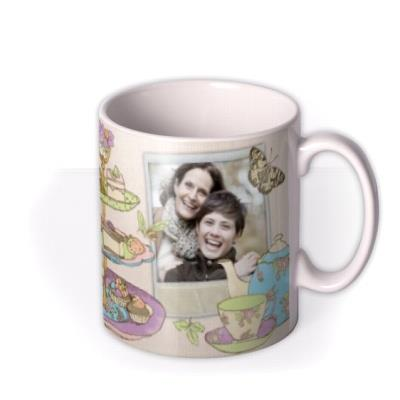 Butterflies and Afternoon Tea Photo Upload Mug