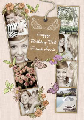 Butterflies Personalised Photo Strip Happy Birthday Card For Best Friend