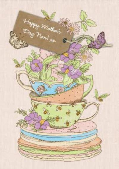 Teacup Stack Personalised Happy Mother's Day Card For Nan