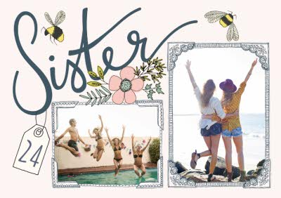 Flowers And Bumblebee Sister Card