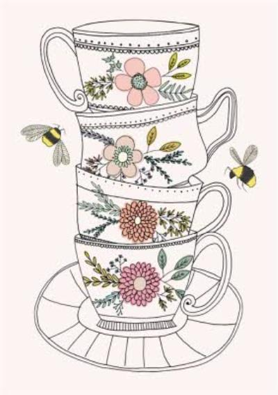 Pretty Flowers And Bees Illustrated Tea Cups Postcard