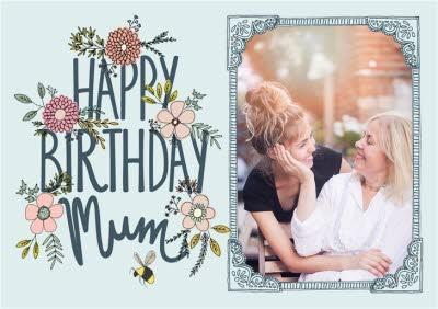 Flowers And Bumblebee Happy Birthday Mum Photo Card