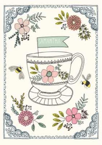 Vintage Flowers And Teacup Personalised Name Card