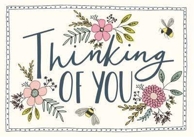 Floral Illustration With Bees Thinking Of You Card