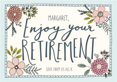 Floral Illustration With Bees Retirement Card