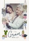 Mother's Day Card - Gran - photo upload card - plants and succulents