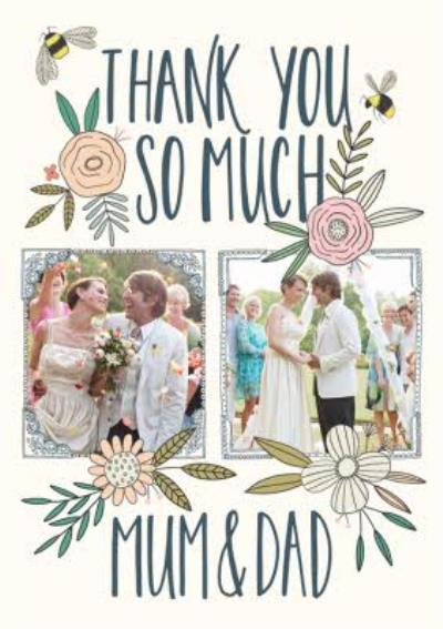 Wedding Card - Wedding Thanks - Mum And Dad - Traditional Flowers And Bumblebee - Photo Upload