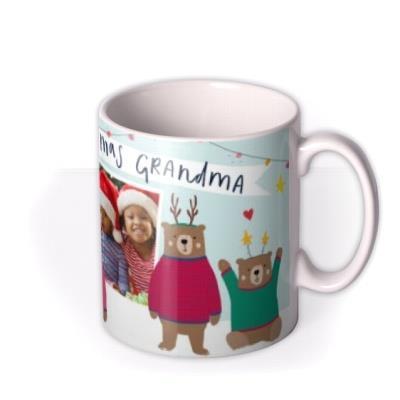 Cute Bears Happy Christmas Grandma Photo Upload Mug from the Kids