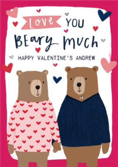 Cute Bears Love You Beary Much Valentines Day Card