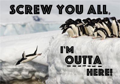 Penguin Personalised Leaving Card
