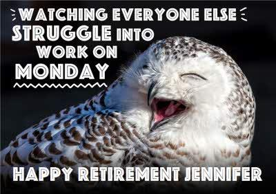 Owl Personalised Retirement Card