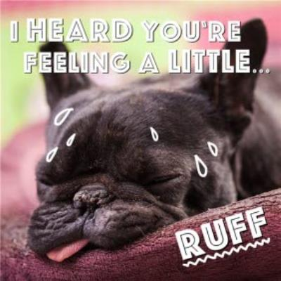 Feeling Ruff Dog Personalised Get Well Soon Card