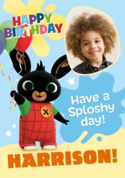 Bing sploshy Happy Birthday Photo upload Card