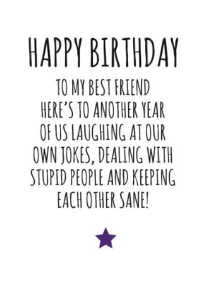 Typographical Happy Birthday To My Best Friend Card