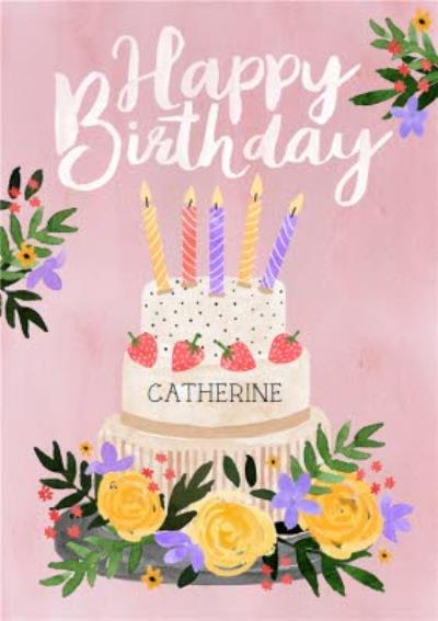 Traditional Illustrated Floral Birthday Cake Card