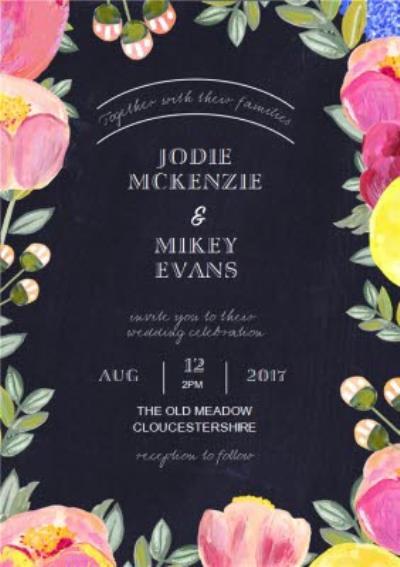 Floral Border Black Background Personalised Wedding Invite Card