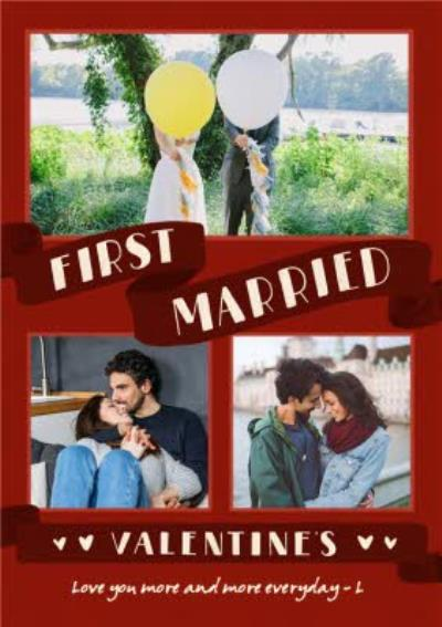 First Married Valentine's Day Multi-Photo Upload Card