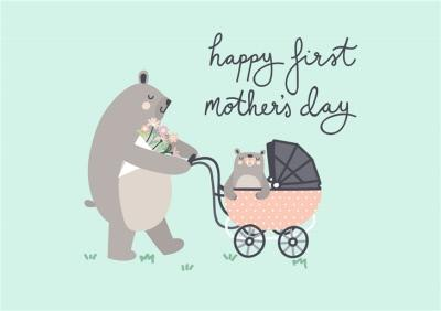 Mother's Day card - First Mother's day - bears