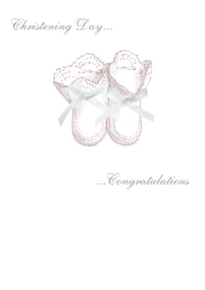 Pink Booties Personalised Christening Day Card