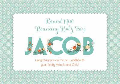 Brand New Bouncing Baby Boy Postcard