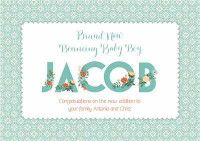 Brand New Bouncing Baby Boy Personalised Congratulations Card