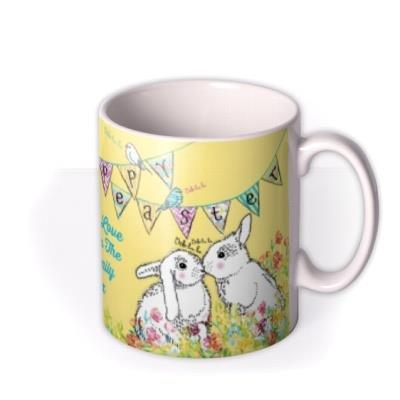 Happy Easter Bunnies Kissing Personalised Photo Upload Mug
