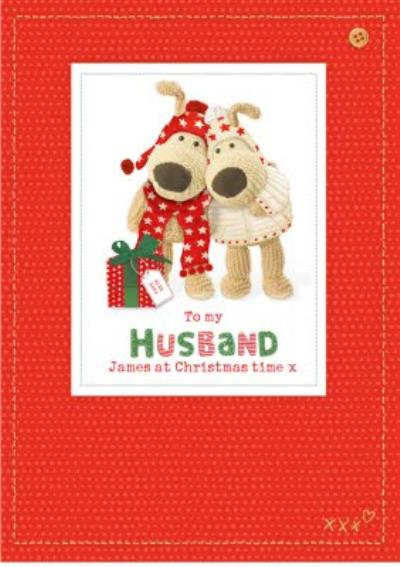 Boofle To Husband Sewn Personalised Christmas Card